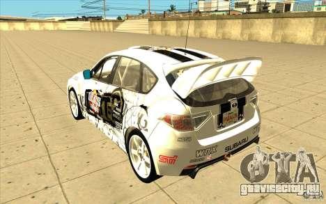 Subaru Impreza WRX STi с новыми винилами для GTA San Andreas колёса