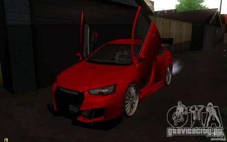 Mitsubishi Lancer EVO X drift Tune для GTA San Andreas вид изнутри