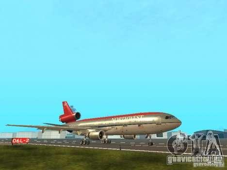 McDonell Douglas DC 10 Nortwest Airlines для GTA San Andreas вид сзади слева