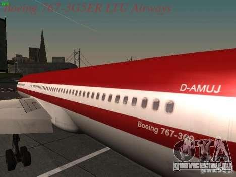 Boeing 767-3G5ER LTU Airways для GTA San Andreas вид сзади