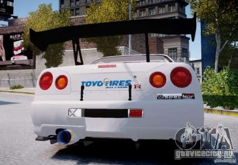 Nissan Skyline GT-R R34 2F2F для GTA 4 вид справа