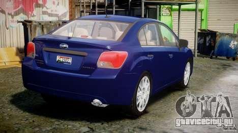 Subaru Impreza Sedan 2012 для GTA 4 вид сбоку