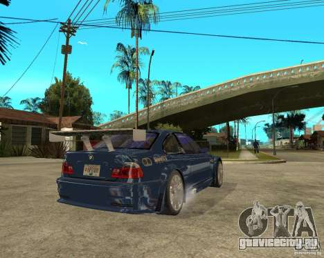 BMW M3 GTR из Need for Speed Most Wanted для GTA San Andreas вид сзади слева