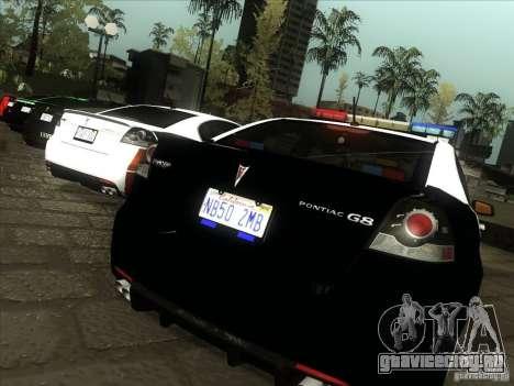 Pontiac G8 Police для GTA San Andreas вид справа