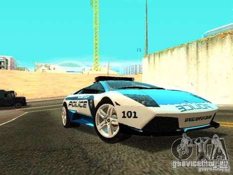 Lamborghini Murcielago LP640 Police V1.0 для GTA San Andreas вид сзади слева