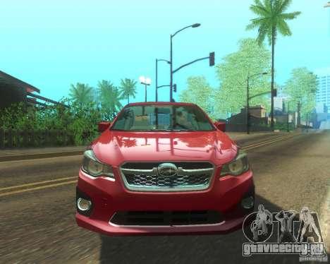 Subaru Impreza Sedan 2012 для GTA San Andreas вид сзади