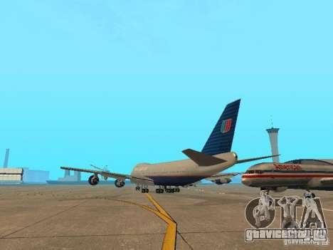 Boeing 747-100 United Airlines для GTA San Andreas вид сзади слева