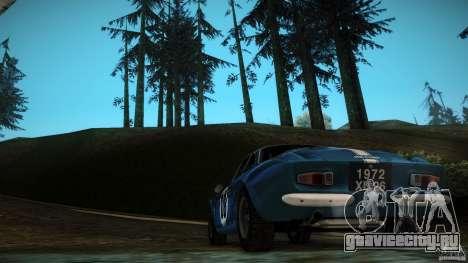 Renault Alpine A110 1600S Rally для GTA San Andreas вид изнутри