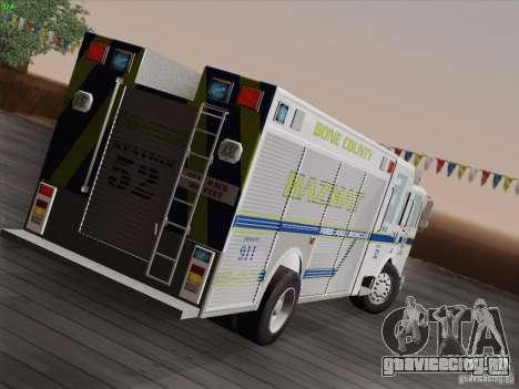 Pierce Fire Rescues. Bone County Hazmat для GTA San Andreas вид сзади