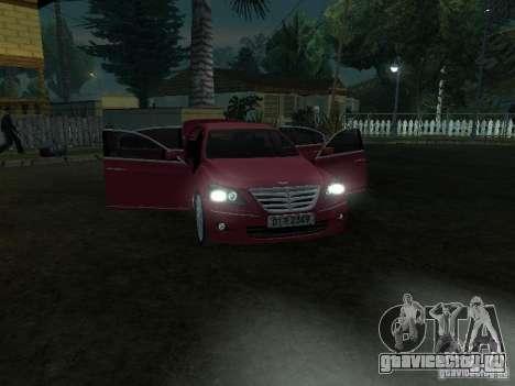 Hyundai Genesis для GTA San Andreas вид изнутри