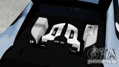 Audi R8 для GTA 4 вид изнутри