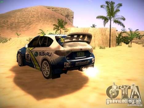 Subaru impreza Tarmac Rally для GTA San Andreas вид сзади слева