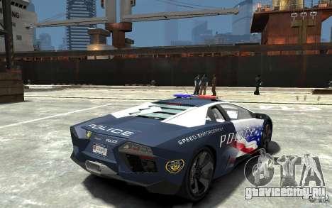 Lamborghini Reventon Police Stinger Version для GTA 4 вид справа