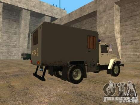 ГАЗ 3309 Автозак для GTA San Andreas вид сзади слева