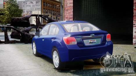 Subaru Impreza Sedan 2012 для GTA 4 вид сзади слева