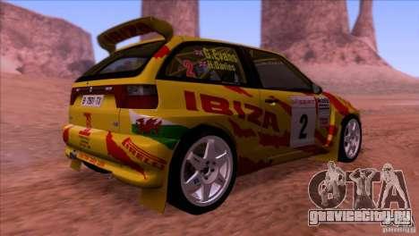 Seat Ibiza Rally для GTA San Andreas вид изнутри