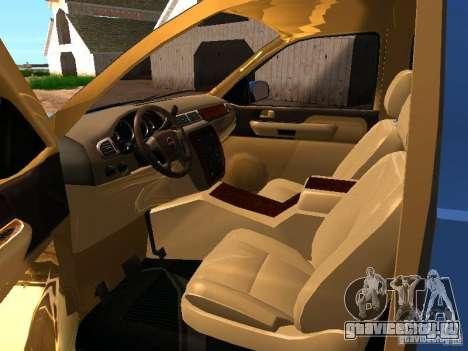 GMC Yukon Denali XL для GTA San Andreas вид изнутри