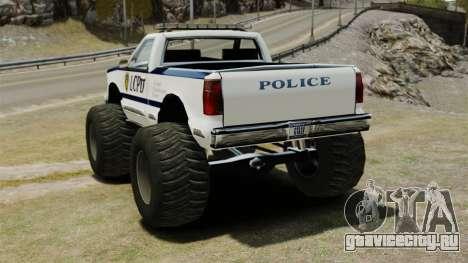 Полицейский Monster Truck ELS для GTA 4 вид сзади слева