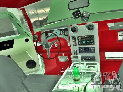 Hummer H2 Phantom для GTA San Andreas вид изнутри