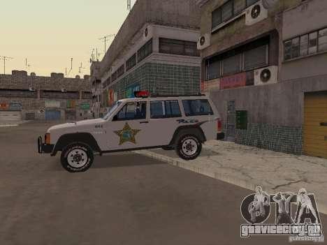 Jeep Cherokee Police 1988 для GTA San Andreas вид сзади