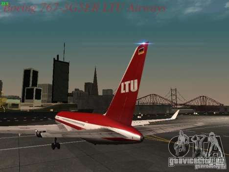 Boeing 767-3G5ER LTU Airways для GTA San Andreas вид сзади слева