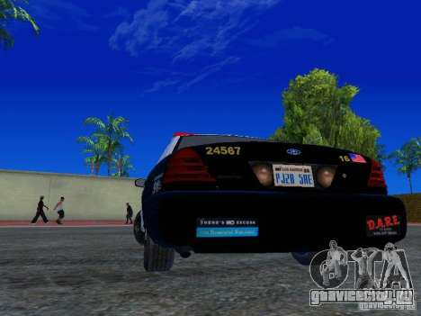 Ford Crown Victoria San Andreas State Patrol для GTA San Andreas вид сзади слева