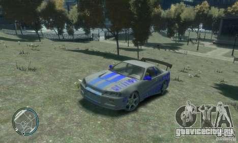 Nissan Skyline GT-R34 для GTA 4 вид сзади