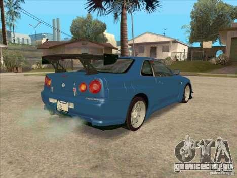 Nissan Skyline GT-R BNR34 Tunable для GTA San Andreas вид изнутри