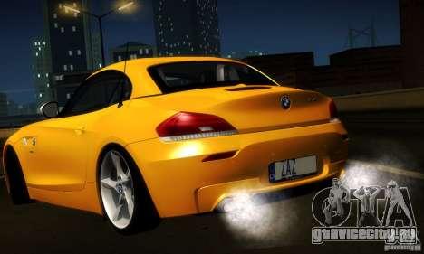 BMW Z4 Stock 2010 для GTA San Andreas вид изнутри