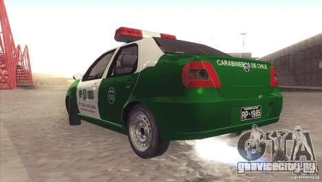 Fiat Siena Carabineros De Chile для GTA San Andreas вид справа