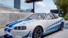 Nissan Skyline GT-R R34 2F2F для GTA 4