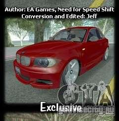 BMW 135i Coupe Stock для GTA San Andreas