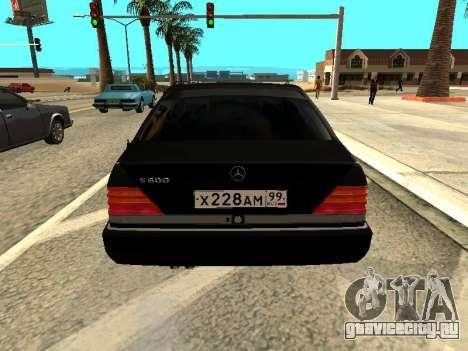 Mercedes-Benz w140 s600 для GTA San Andreas вид сзади слева