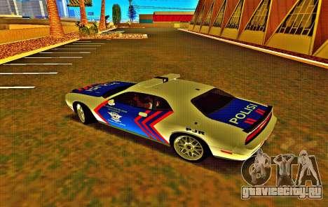Dodge Challenger Indonesian Police для GTA San Andreas вид сзади слева