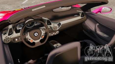 Ferrari 458 Spider Pink Pistol 027 Gumball 3000 для GTA 4 вид изнутри