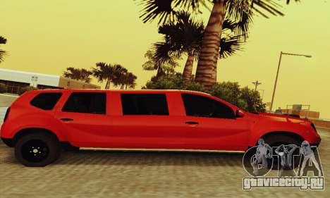 Dacia Duster Limo для GTA San Andreas вид сзади слева