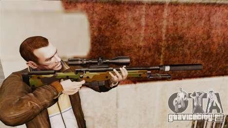 Снайперская винтовка AW L115A1 с глушителем v8 для GTA 4