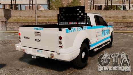 Ford F-150 v3.3 NYPD [ELS & EPM] v1 для GTA 4 вид сзади слева