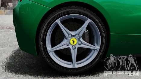 Ferrari 458 Italia 2010 Italian для GTA 4 вид сзади