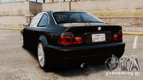 BMW M3 Coupe E46 для GTA 4 вид сзади слева