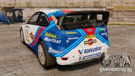 Ford Focus RS Martini WRC для GTA 4 вид сзади слева