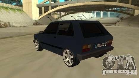 Zastava Yugo 1.1 для GTA San Andreas вид сзади