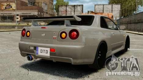Nissan Skyline R34 для GTA 4 вид сзади слева
