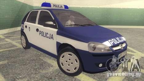 Opel Corsa C Policja для GTA San Andreas вид слева