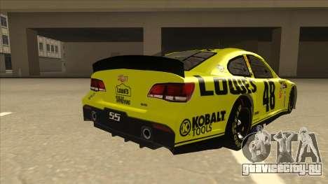 Chevrolet SS NASCAR No. 48 Lowes yellow для GTA San Andreas вид справа
