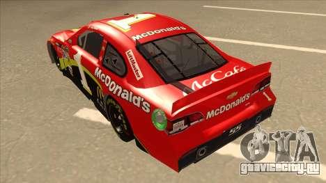 Chevrolet SS NASCAR No. 1 McDonalds для GTA San Andreas вид сзади