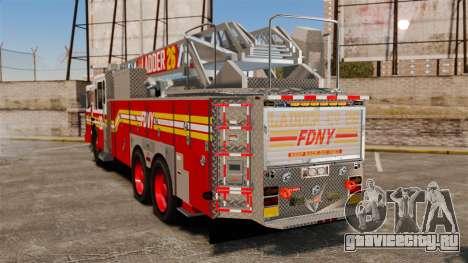 Ferrara 100 Aerial Ladder FDNY 2013 [ELS] для GTA 4 вид сзади слева