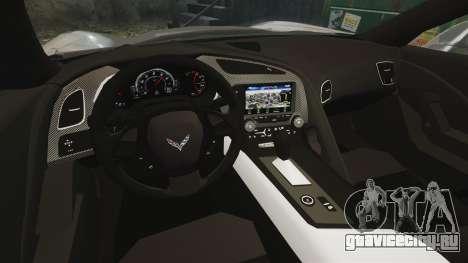 Chevrolet Corvette C7 Stingray 2014 для GTA 4 вид изнутри