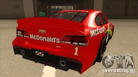 Chevrolet SS NASCAR No. 1 McDonalds для GTA San Andreas вид справа