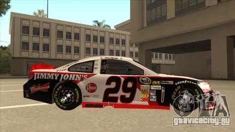 Chevrolet SS NASCAR No. 29 Jimmy Johns для GTA San Andreas вид сзади слева